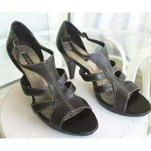 Connie Womens Sandal Cone Heels Black Leather Cut